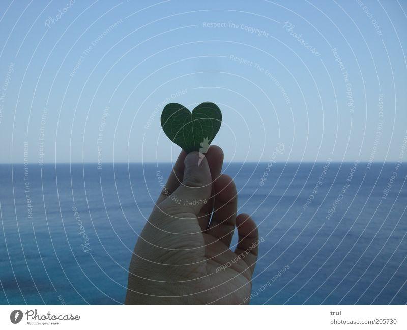 Ich wünschte... Ferne Sommer Meer Hand Finger Blatt Herz frei Sehnsucht Gefühle Farbfoto Außenaufnahme Textfreiraum links Textfreiraum rechts Textfreiraum oben