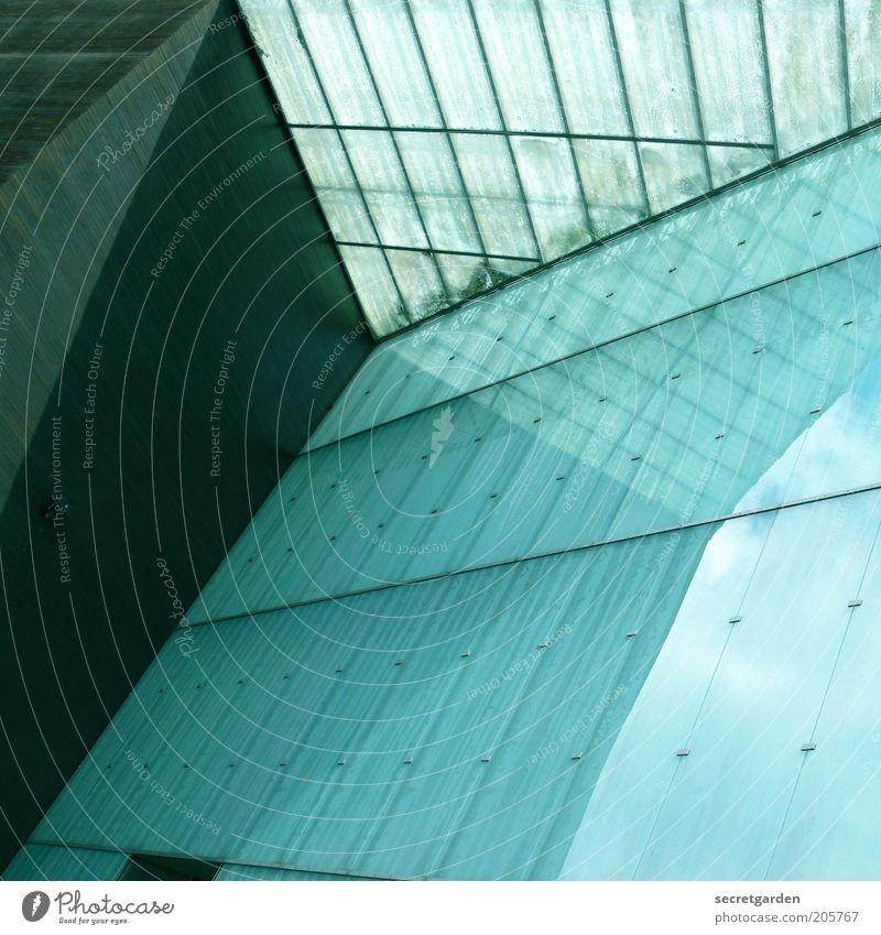 [H 10.1] konstruktive ansicht. blau schwarz Wand oben Architektur Mauer Gebäude Linie Glas Fassade Hochhaus modern ästhetisch neu Perspektive