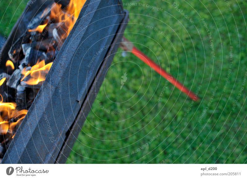 Auch ein schöner Rücken Freizeit & Hobby Grill Grillen Grillgut Grillkohle authentisch gelb rot schwarz Gras Kohle Feuer brennen Farbfoto mehrfarbig