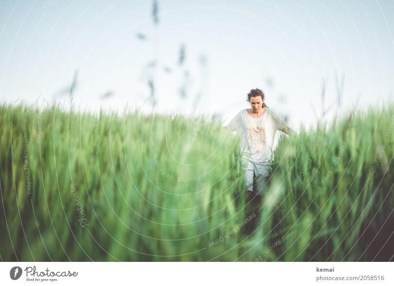Frau in einem grünen Getreidefeld Lifestyle Wellness Leben harmonisch Wohlgefühl Zufriedenheit Sinnesorgane Erholung ruhig Freizeit & Hobby Ausflug Abenteuer