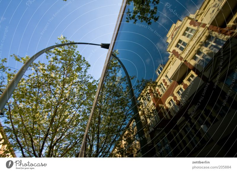 Steglitz Berlin Stadt Haus Jugendstilhaus Architektur Stadthaus Baum Platane grün Laterne Spiegel Reflexion & Spiegelung Fensterscheibe Autofenster Glas