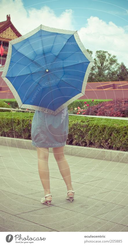 Tou pai Mensch Jugendliche schön Himmel blau Sommer Wolken feminin Garten Wege & Pfade Beine Erwachsene Gesäß Kleid außergewöhnlich China