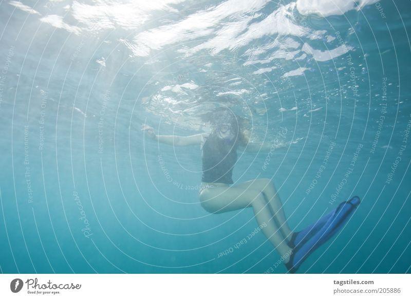 SONNENBADEN Frau blau Wasser Ferien & Urlaub & Reisen Sonne Meer Erholung Beine Schwimmen & Baden nass Junge Frau Reisefotografie unten tauchen Im Wasser treiben Sonnenbad