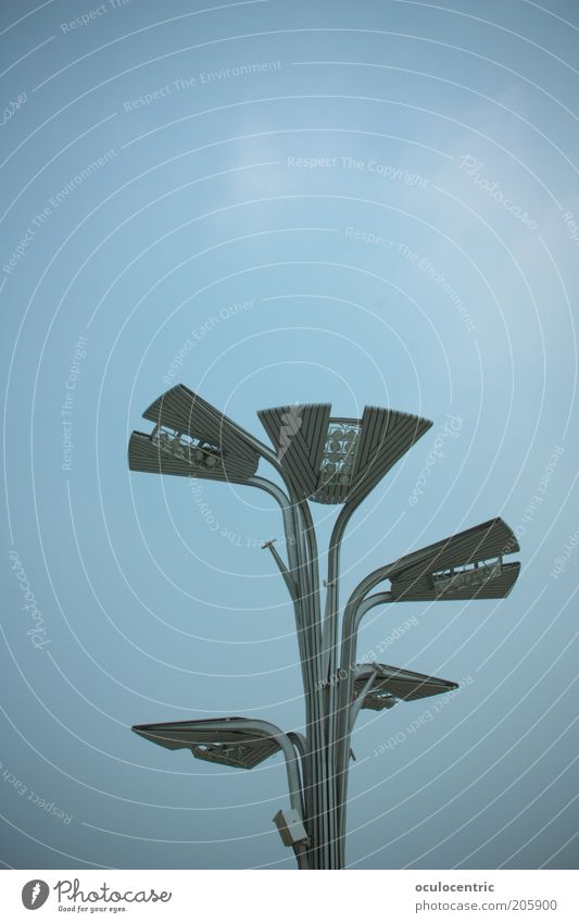 urban flower Peking China Straßenbeleuchtung leuchten kalt blau Himmel Stab Überblick Futurismus Laterne Vignettierung Farbfoto Außenaufnahme Menschenleer
