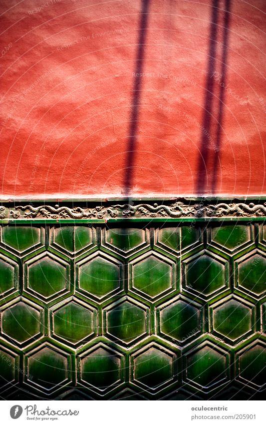 viele viele Tempel grün rot Wand Mauer Fassade ästhetisch Asien Fliesen u. Kacheln China Vignettierung Peking Lama Tempel