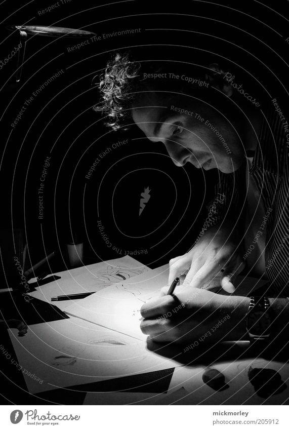 The Drawer Mensch schwarz Lampe Arbeit & Erwerbstätigkeit Gefühle Kopf Zufriedenheit Kraft Kunst Erwachsene maskulin sitzen Studium ästhetisch authentisch Freizeit & Hobby