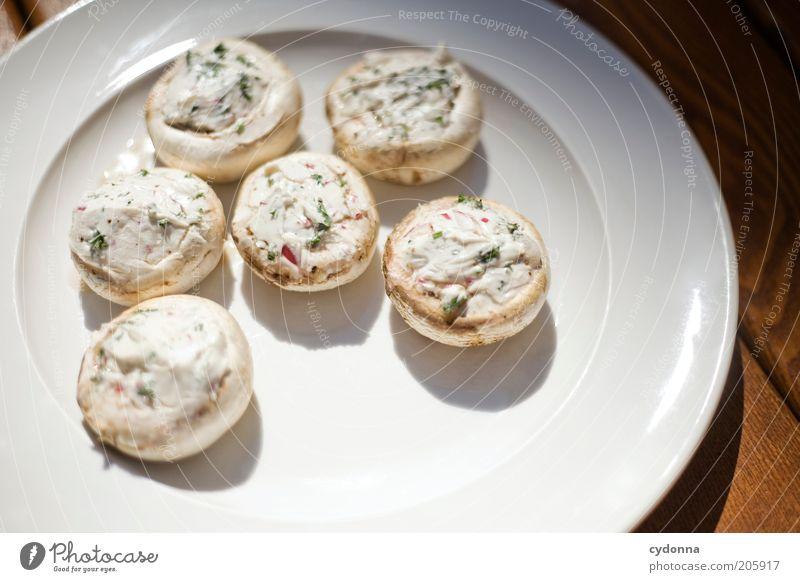 Gefüllte Champignons weiß Ernährung Leben Lebensmittel Lifestyle frisch ästhetisch Kräuter & Gewürze lecker Teller Idee Bioprodukte Qualität Delikatesse Detailaufnahme