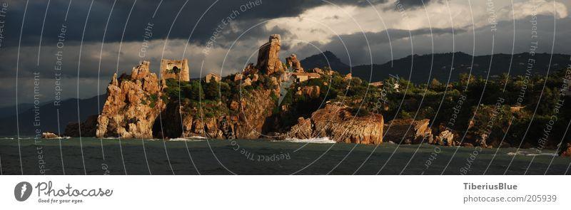 Hafeneinfahrt Cefalù, Caldurabucht Natur Wasser Meer Ferien & Urlaub & Reisen Wolken Gebäude Landschaft Stimmung Wellen Küste Felsen Europa Insel