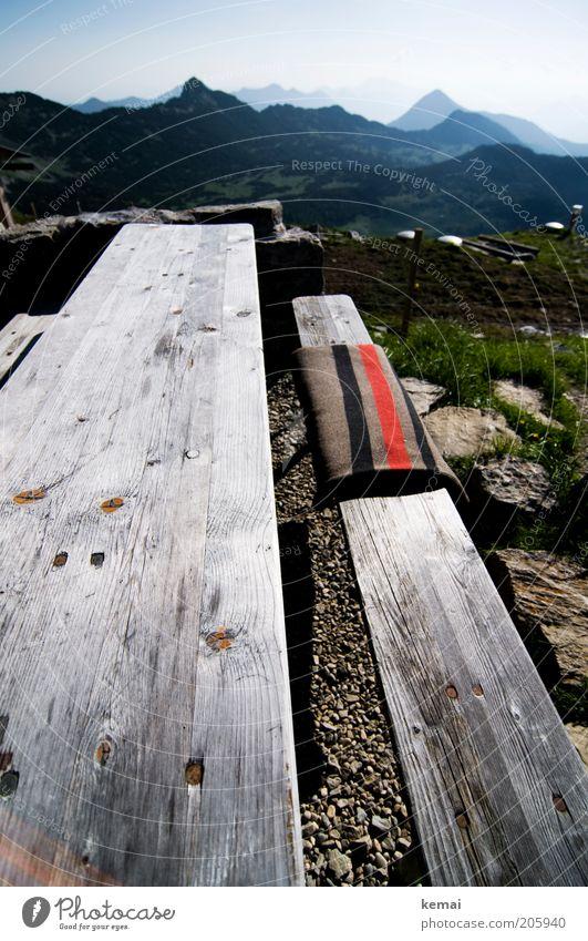 Guten Morgen, Berge Natur Himmel Sommer Ferne Berge u. Gebirge Wärme Landschaft Umwelt Tisch Tourismus Pause Bank Aussicht Reisefotografie Klima Alpen
