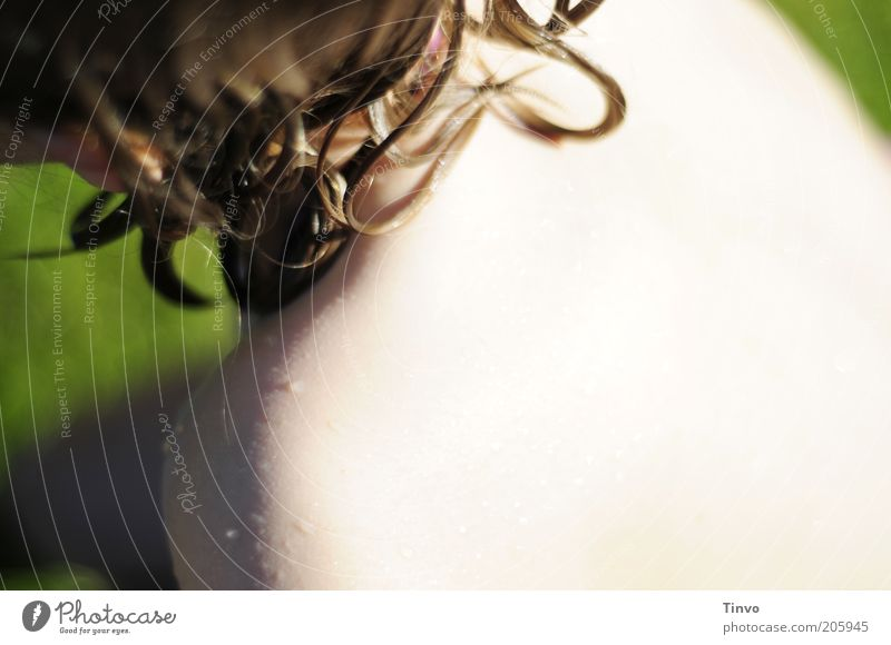 Sonn-Tag Mensch Sommer Haare & Frisuren hell blond Rücken Haut nass Wassertropfen Schulter langhaarig Wetterschutz Haarsträhne UV-Strahlung Frauenrücken