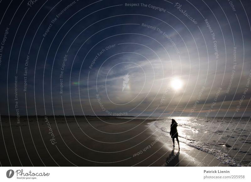 Sehnsucht Umwelt Natur Landschaft Himmel Wolken Horizont Sonne Sommer Klima Schönes Wetter Wellen Küste Strand Nordsee Meer Insel Stimmung Glück Spiekeroog Halo
