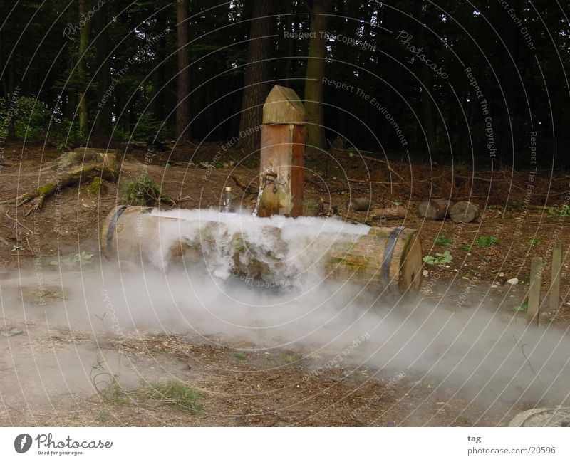 cooler Brunnen Holz Stimmung Nebel obskur