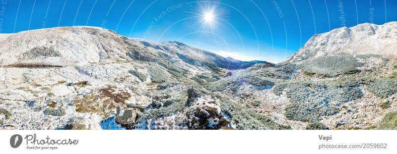 Panorama von weißen Bergen mit Schnee Himmel Natur Ferien & Urlaub & Reisen blau grün Sonne Baum Landschaft Winter Wald Berge u. Gebirge schwarz Umwelt gelb