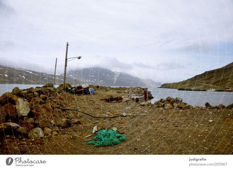 Island Natur Wasser alt Himmel Wolken Einsamkeit Lampe Berge u. Gebirge Wege & Pfade Landschaft Stimmung Umwelt Wandel & Veränderung Klima Hafen natürlich