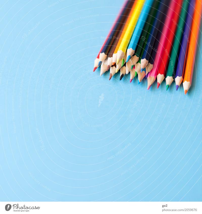 Buntstifte blau Farbe Kunst Schule Design Freizeit & Hobby Büro ästhetisch Kreativität Idee Papier Team zeichnen Werbebranche Sitzung Inspiration