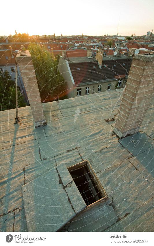 Dachluke Sonne Sommer Berlin Horizont offen Aussicht Loch Schornstein Hauptstadt Stadthaus Öffnung Luke Abendsonne Juni Flachdach