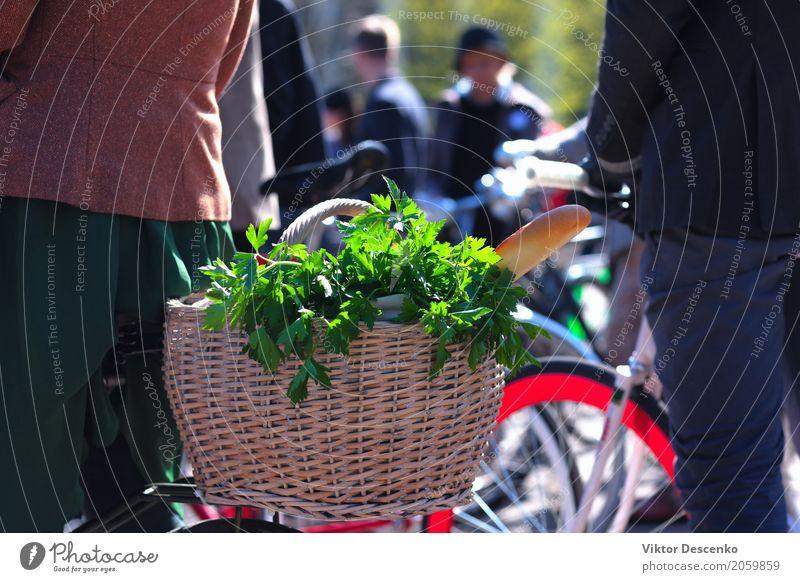 Korb mit Lebensmitteln auf dem Fahrrad Frau Ferien & Urlaub & Reisen alt Sommer schön grün Blume rot Erwachsene Straße natürlich Sport Verkehr