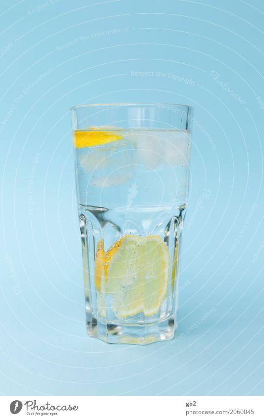 Erfrischung blau Gesunde Ernährung Leben gelb Gesundheit Lebensmittel ästhetisch Glas Trinkwasser Getränk Wellness trinken lecker rein