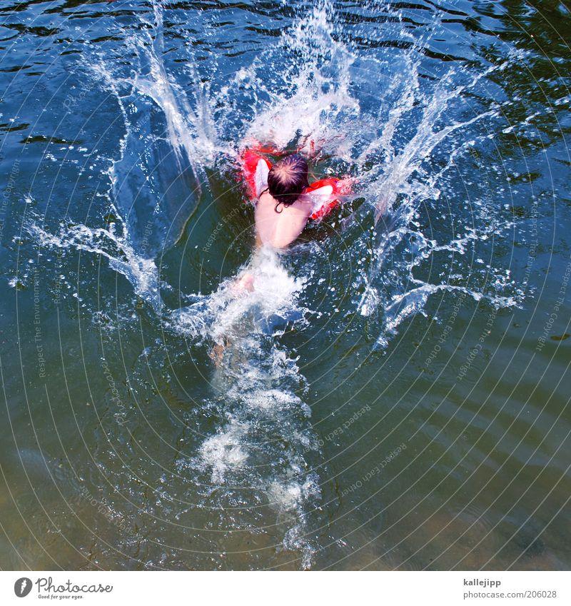 36 grad und es wird noch heisser Mensch Kind Wasser rot Sommer Freude Leben Spielen Junge springen See Kindheit Wellen Schwimmen & Baden Wassertropfen Sicherheit