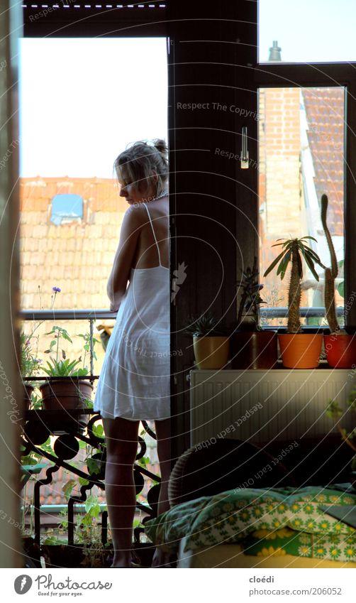 . Sommer Schlafzimmer Frau Erwachsene 1 Mensch 18-30 Jahre Jugendliche Pflanze Kaktus Grünpflanze Topfpflanze Balkon Fenster Dach Kleid beobachten träumen schön