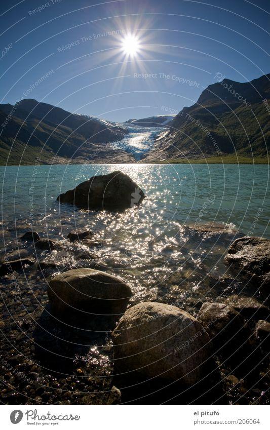 Svartisen Gletscher Ferien & Urlaub & Reisen Tourismus Ferne Freiheit Sonne Berge u. Gebirge Natur Landschaft Luft Wasser Himmel Wolkenloser Himmel Sommer