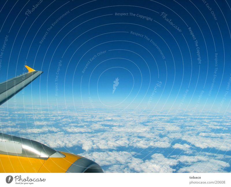 Über den Wolken Himmel blau Wolken Flugzeug Luftverkehr Tragfläche