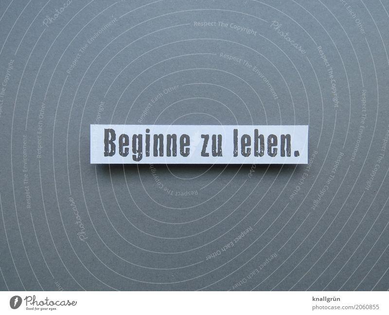 Beginne zu leben. Schriftzeichen Schilder & Markierungen Kommunizieren eckig grau weiß Gefühle Stimmung Lebensfreude Verantwortung achtsam Neugier Abenteuer