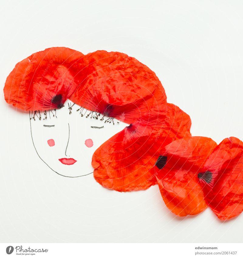 Miss Poppy Freizeit & Hobby Basteln zeichnen feminin Natur Pflanze Blüte Mohnblüte Blütenblatt Accessoire rothaarig Papier Dekoration & Verzierung leuchten