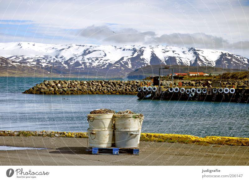 Island Umwelt Natur Landschaft Wasser Himmel Wolken Klima Berge u. Gebirge Fjord Schifffahrt Hafen Stimmung Einsamkeit Idylle ruhig Fischereiwirtschaft
