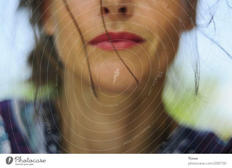 Erdbeermund feminin Frau Erwachsene Kopf Haare & Frisuren Gesicht Nase Mund 1 Mensch brünett Lächeln Glück Lebensfreude Optimismus Romantik Farbe Gefühle schön