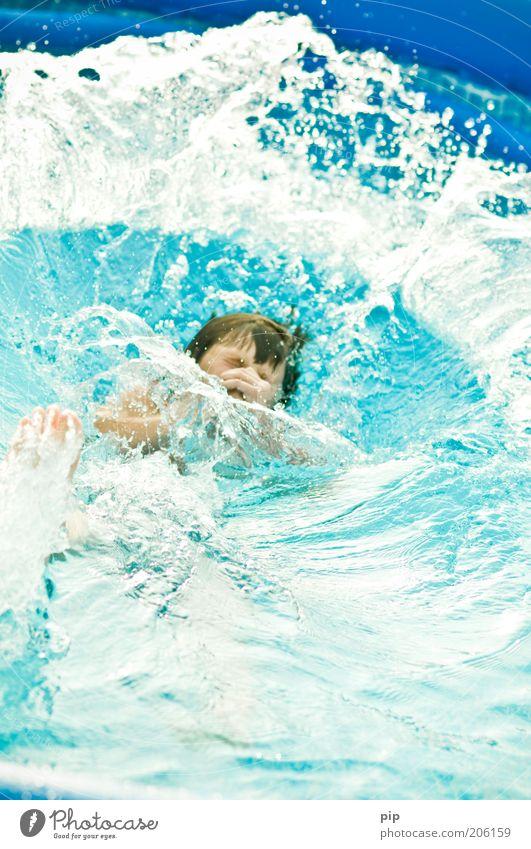 blue blubb Spielen tauchen maskulin Junger Mann Jugendliche Kopf 1 Mensch Wasser Bewegung fallen toben Glück nass blau Leben Ausgelassenheit Wellen