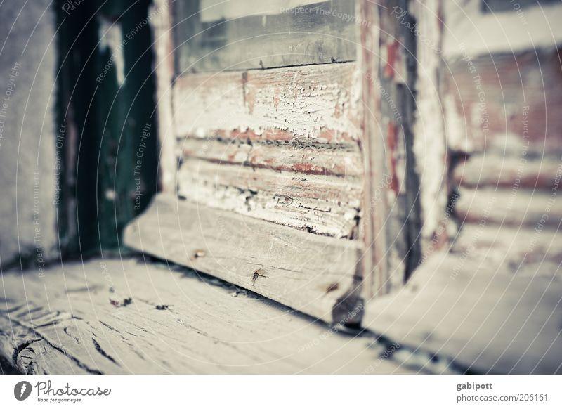 Zeichen der Zeit alt Fenster Holz Gebäude braun dreckig Tür trist kaputt authentisch Wandel & Veränderung Vergänglichkeit verfallen Verfall trashig Vergangenheit