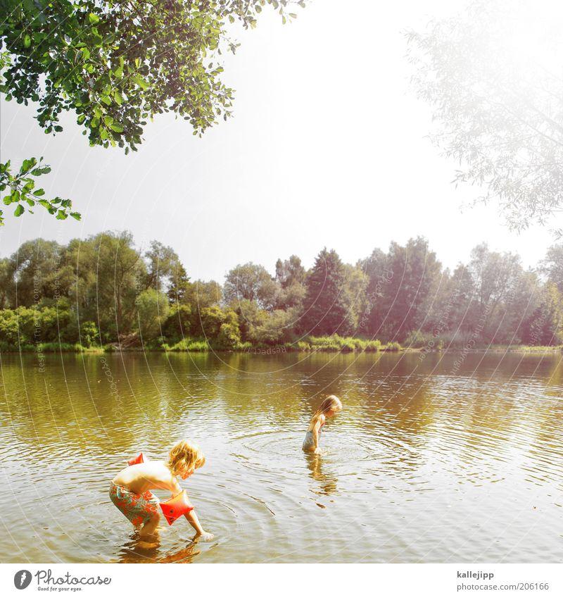 tag am see Mensch Kind Natur Mädchen Sonne Ferien & Urlaub & Reisen Sommer Freude Erholung Leben Umwelt Spielen Landschaft Junge Wärme See