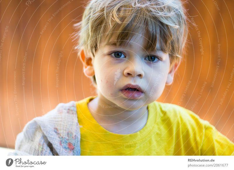 Sommer 2017 Mensch Kind Kleinkind Junge Gesicht 1-3 Jahre T-Shirt authentisch klein natürlich gelb Kindheit Farbfoto Außenaufnahme Nahaufnahme
