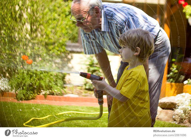 Opa mit Enkel im Garten Mensch maskulin Kind Kleinkind Junge Männlicher Senior Mann Großvater Familie & Verwandtschaft Kindheit Leben 2 1-3 Jahre 60 und älter