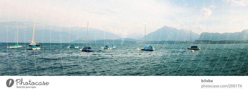 Thunersee Natur weiß grün blau Sommer Ferien & Urlaub & Reisen Erholung Berge u. Gebirge Freiheit See Landschaft Wasserfahrzeug Stimmung Wellen entdecken Panorama (Bildformat)