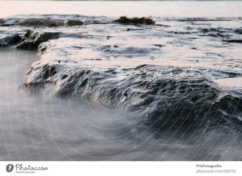 Stein der Weisen Umwelt Sand Wasser Wellen Küste Strand Bucht Riff Meer Mittelmeer außergewöhnlich fantastisch grau Felsen Nebel nass Farbfoto Außenaufnahme