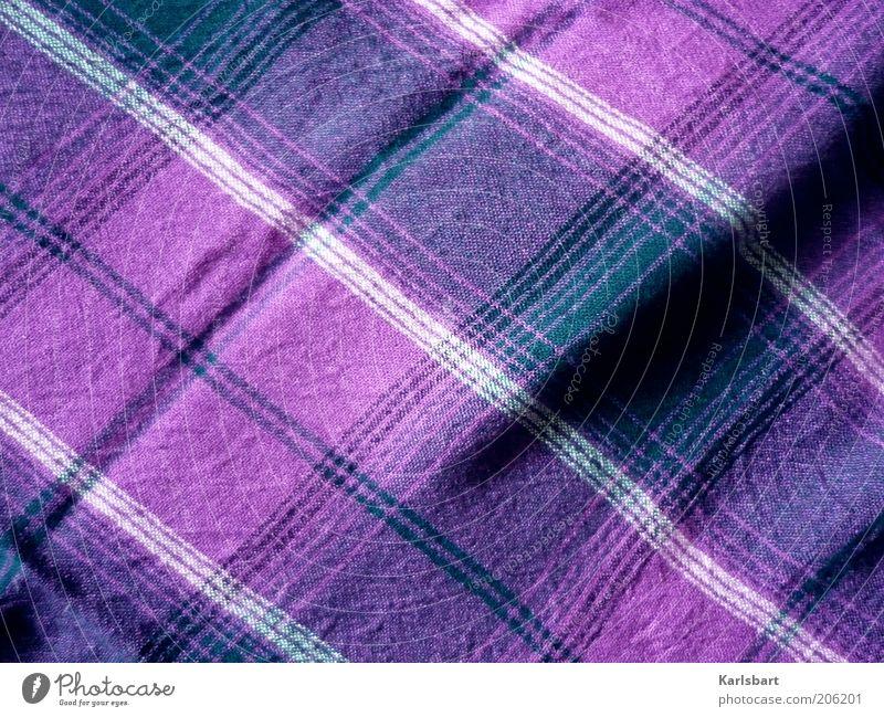 tuch. und falte. Stil Mode Bekleidung Stoff Linie Streifen Strukturen & Formen kariert violett Farbfoto mehrfarbig Innenaufnahme Nahaufnahme Detailaufnahme