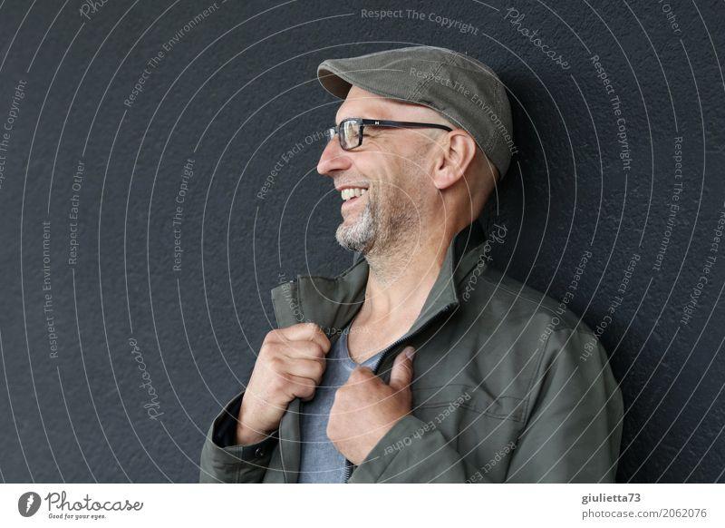 AST 10   Ha, ha, ha, der war gut! Mensch Mann Freude Erwachsene Leben Senior Gesundheit lachen Glück maskulin 45-60 Jahre Lächeln Brille Bart Mütze Hut