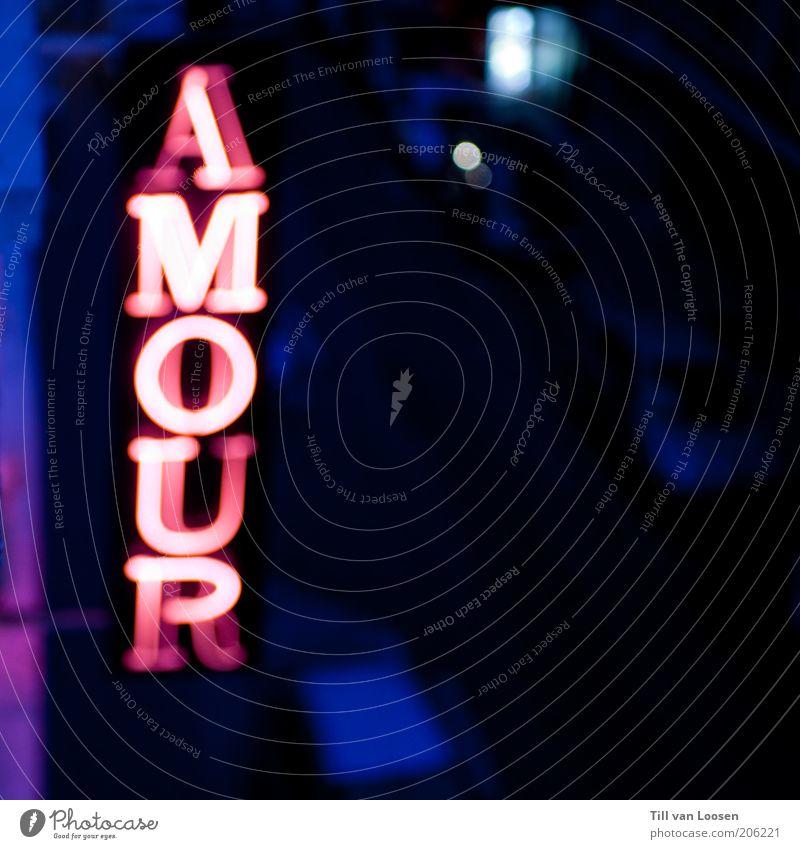 AMOUR blau Liebe schwarz Sex rosa Schilder & Markierungen Schriftzeichen Dienstleistungsgewerbe Neonlicht anonym Entertainment Nachtleben ausgehen Leuchtreklame Eros Symbole & Metaphern