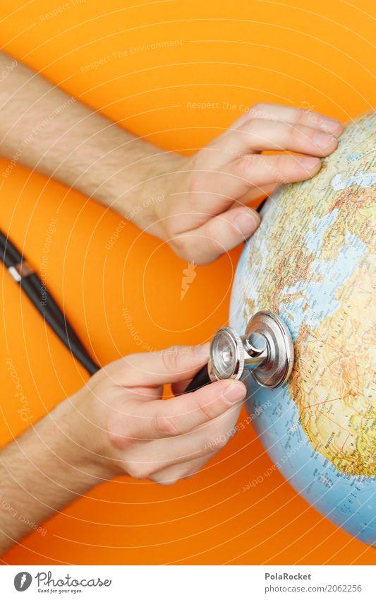 #AS# Hör hin! Kunst Kunstwerk ästhetisch Globus Erde untersuchen Hand orange Arzt festhalten Klimawandel Klimaschutz Klimagipfel Farbfoto mehrfarbig