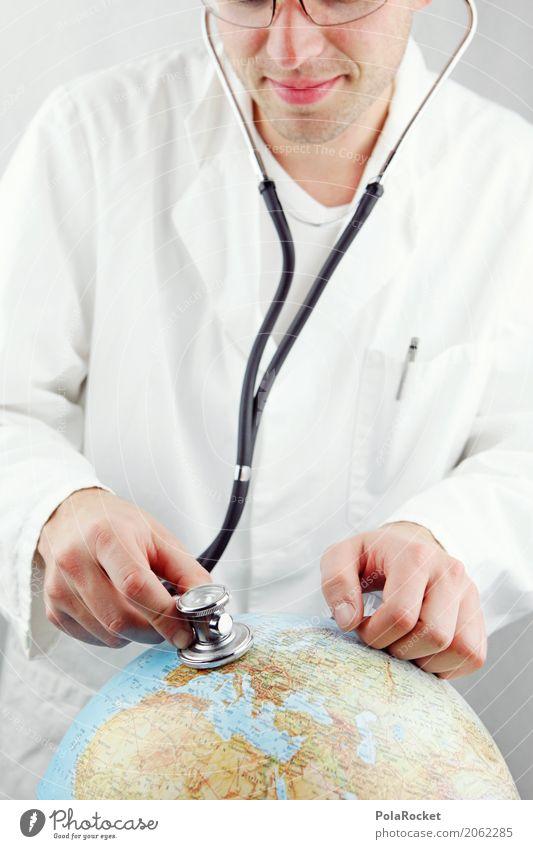 #AS# we care Kunst ästhetisch Arzt Stethoskop weiß hören Spitzel spionieren Erde Planet Globus untersuchen kümmern Farbfoto Gedeckte Farben Innenaufnahme