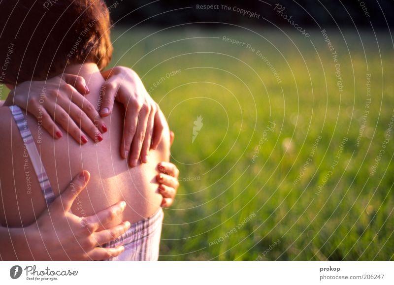 M.U.L.T.I.H.U.G Frau Mensch Natur Hand Jugendliche schön Pflanze Sommer Liebe Wiese feminin Gefühle Frühling Glück Wärme