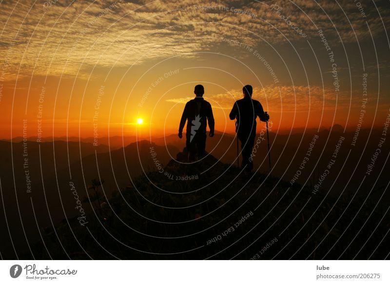 Morgenstund Mensch Natur Himmel Sommer Ferien & Urlaub & Reisen Ferne Sport Erholung Berge u. Gebirge Freiheit Landschaft Stimmung wandern Umwelt Abenteuer Tourismus