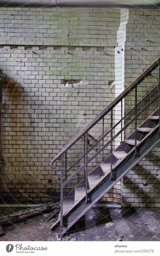 Treppe in einem alten Kellergeschoss Fabrik Industrie Mauer Wand bauen Farbfoto Innenaufnahme Menschenleer Textfreiraum links Textfreiraum oben Tag