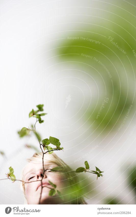 Heimatgefühl Frau Mensch Jugendliche schön Pflanze ruhig Gesicht Erholung Leben Freiheit Kopf Stil Frühling träumen Erwachsene