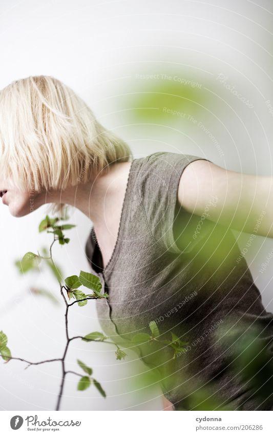 Suche Frau Mensch Natur Jugendliche schön Pflanze ruhig Erholung Leben Freiheit Frühling Erwachsene Gesundheit blond Zeit