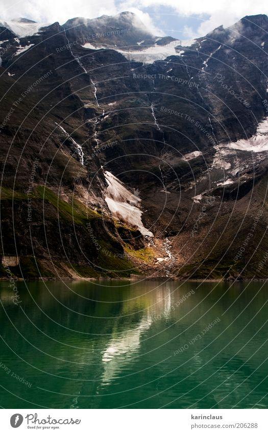 schmelzender Gletscher schön Tourismus Sommer Schnee Berge u. Gebirge Spiegel Umwelt Natur Landschaft Himmel Wolken Horizont Wärme Gras Hügel Teich See Fluss