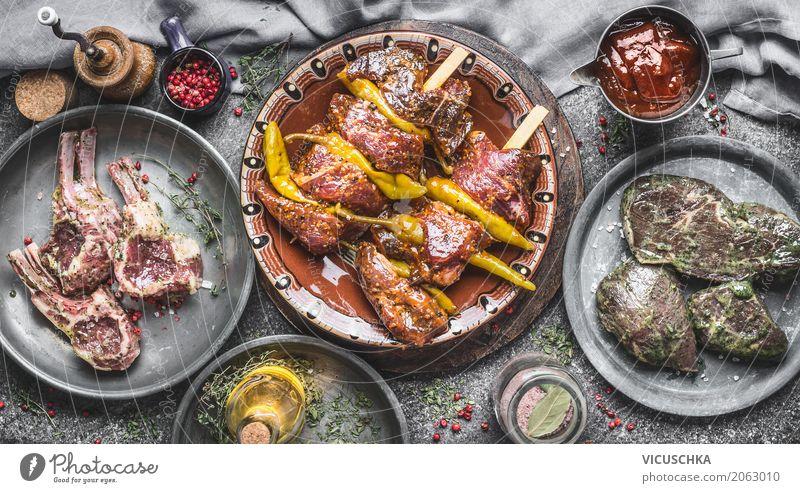 Verschiedenes Fleisch für Grill Lebensmittel Kräuter & Gewürze Öl Ernährung Picknick Bioprodukte Geschirr Teller Schalen & Schüsseln Stil Design