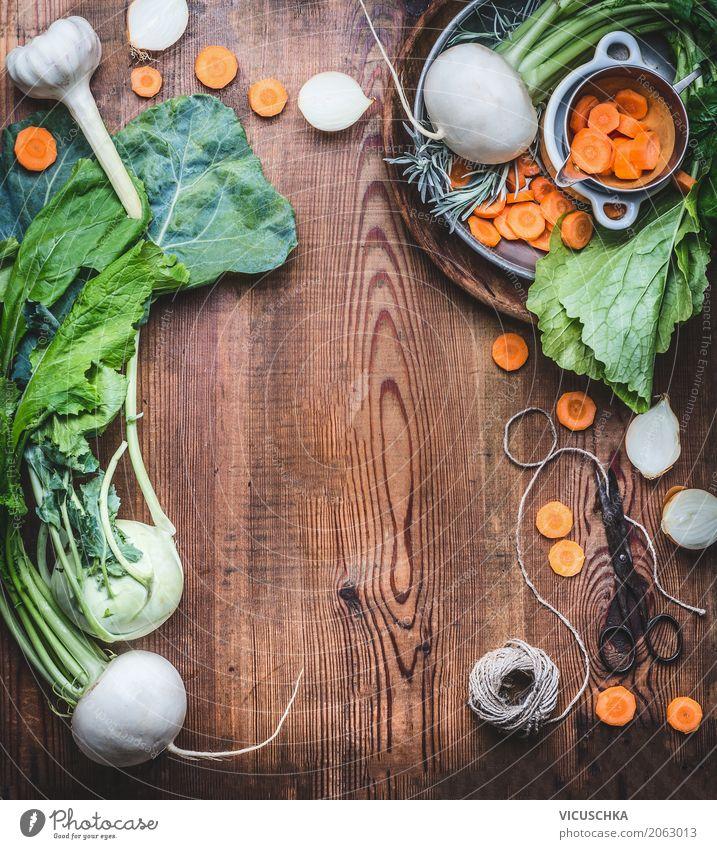 Vegetarische Lebensmittel Hintergrund mit frischem Bio-Gemüse Ernährung Bioprodukte Vegetarische Ernährung Diät Geschirr Stil Design Gesundheit